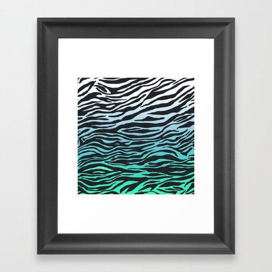 TEAL ZEBRA FADE Framed Art Print