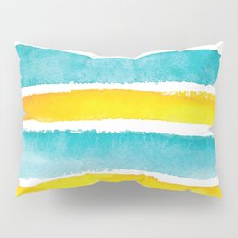 Watercolor yellow and turquoise stripes Pillow Sham