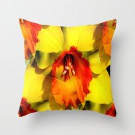 Daffodil - Orange Trumpet Throw Pillow