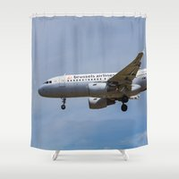brussels Shower Curtains featuring Brussels airlines Airbus A319 by David Pyatt
