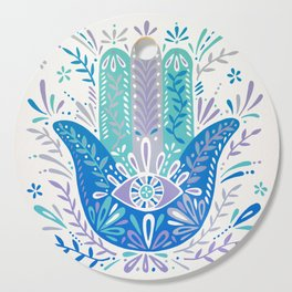 Hamsa Hand – Blue & Turquoise Palette Cutting Board