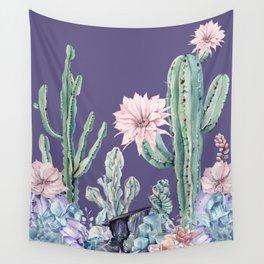 Desert Cactus Succulents + Gemstones on Deep Purple Wall Tapestry