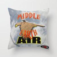 middle earth Throw Pillows featuring darrell merrill nerd artist: middle earth air by Nerd Artist DM