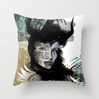 angel Throw Pillows featuring Angel by Irmak Akcadogan
