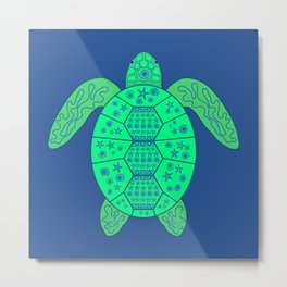 Sea Turtle - Blue and Green Metal Print