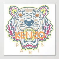 kenzo Canvas Prints featuring KENZO Tiger by cvrcak