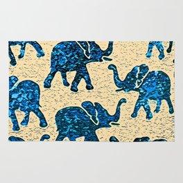 Elephant March Blue Rug