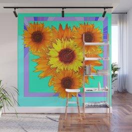Turquoise-Aqua Modern Art Sun Flowers  Western Style Abstract Design Wall Mural