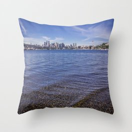 Lake Union and Seattle Skyline Throw Pillow