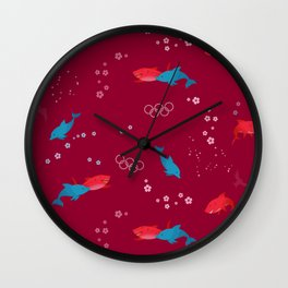 Red Shark and Dolphin Wall Clock