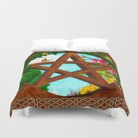 pagan Duvet Covers featuring Oasis Pagan Folk Art by BohemianBound