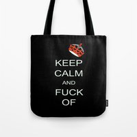 keep calm Tote Bags featuring keep calm by laika in cosmos