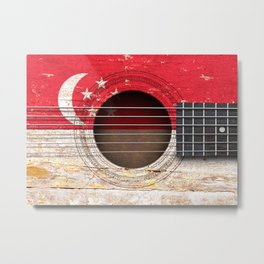 Old Vintage Acoustic Guitar with Singapore Flag Metal Print