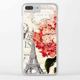 Paris and Hydrangea Clear iPhone Case