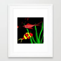 scuba Framed Art Prints featuring Scuba by Happy Fish Gallery