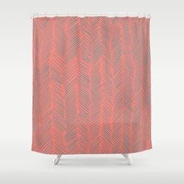 Living Coral Herringbone Gray Shower Curtain
