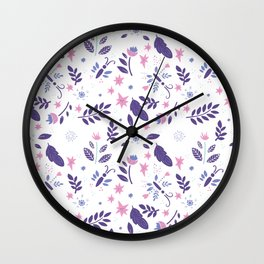 purple and pink flora Wall Clock