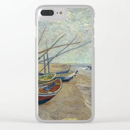 Fishing boats on the beach at Les Saintes-Maries-de-la-Mer Clear iPhone Case