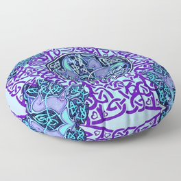 7 Blue Celtic Horses Floor Pillow