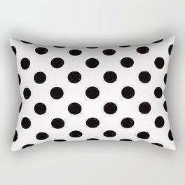 White & Black Polka Dots Rectangular Pillow