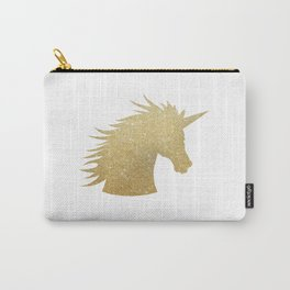Gold Glitter Unicorn Carry-All Pouch