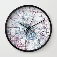 houston Wall Clocks featuring Houston map by MapMapMaps.Watercolors