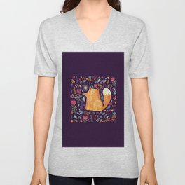 Cute Cozy Watercolour Illustration Scandinavian Fox In The Dark Floral Charms Unisex V-Neck