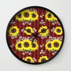 The Striped Red Fresh Sunflower Seamless Pattern Wall Clock
