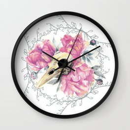 Avian Flower Bones Wall Clock