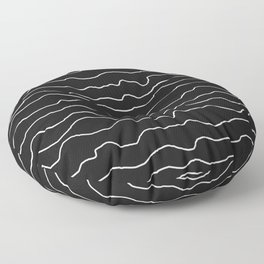 Black with White Squiggly Lines Floor Pillow