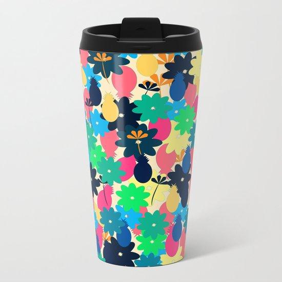 Flowers and pineapples Metal Travel Mug