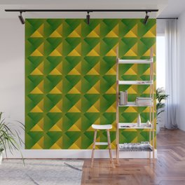 Optical pigtail rhombuses from yellow squares in the green. Wall Mural