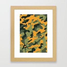 Green & Orange Camo Framed Art Print
