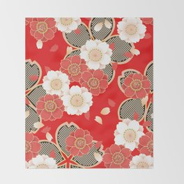 Japanese Vintage Red Black White Floral Kimono Pattern Throw Blanket