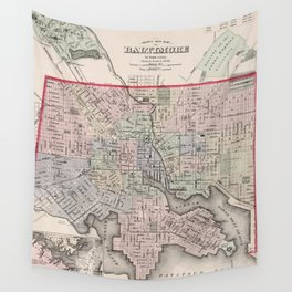 Vintage Map of Baltimore MD (1876) Wall Tapestry