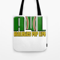 oakland Tote Bags featuring Oakland A's Shirt Design by John Alim Studios