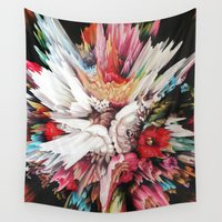 glitch Wall Tapestries featuring Floral Glitch II by Kate Tova