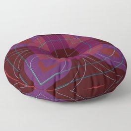 Leaf and Line Vector Shapes Red Blue Floor Pillow