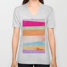 Modern Abstract Rainbow Watercolor Stripes Pattern Unisex V-Neck