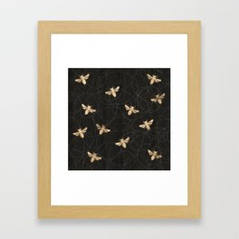 Busy Bees (Black) Framed Art Print