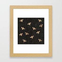 Busy Bees (Black) Framed Art Print