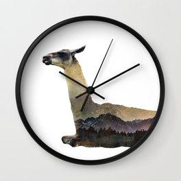 Llama Double Exposure Wall Clock
