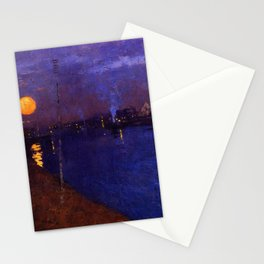 Orange Ripples of Moon on the River under Purples Skies, cityscape painting by George Henry Stationery Cards