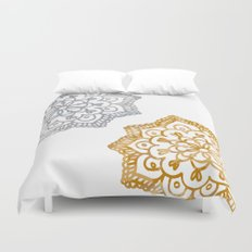 Gold and silver lace floral Duvet Cover