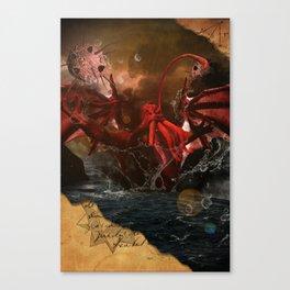 Cthulhu Rises With Shoggoths Canvas Print