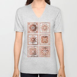 Talavera Mexican Tile – Rose Gold Palette Unisex V-Neck
