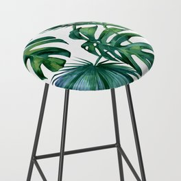 Classic Palm Leaves Tropical Jungle Green Bar Stool
