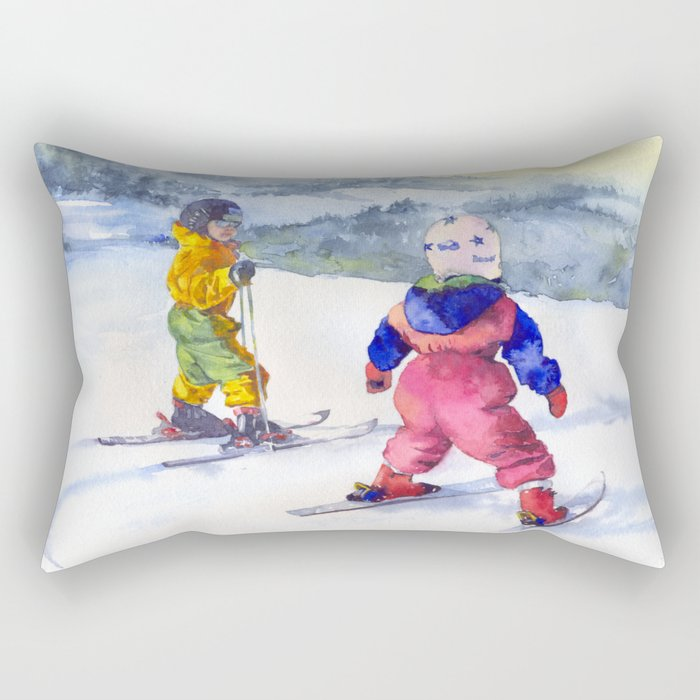 Watercolor skiing, skiers kids Rectangular Pillow