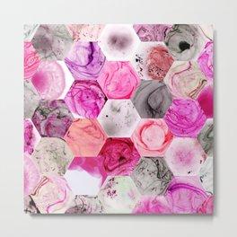 Pink Marbled Hexies Metal Print