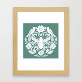 Birds, Bees, and Botanicals // Hand Drawn Insects and Folk art Birds with Lotus Flowers and Leaves Framed Art Print